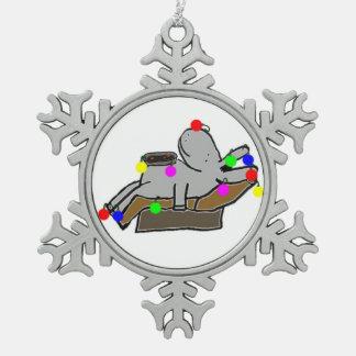 christmas donkey snowflake pewter christmas ornament