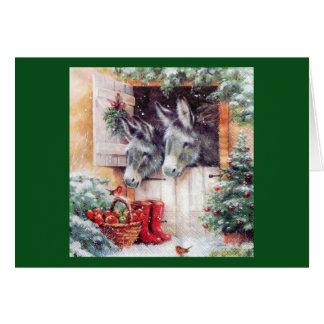 Christmas Donkeys Greeting Card