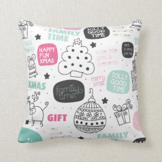 Christmas doodle illustration pillow