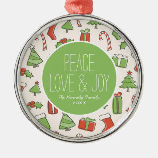Christmas Doodle Pattern Christmas Ornament