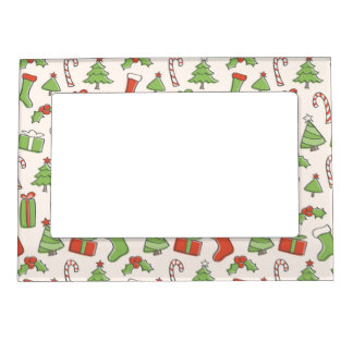 Christmas Doodle Pattern Magnetic Picture Frame