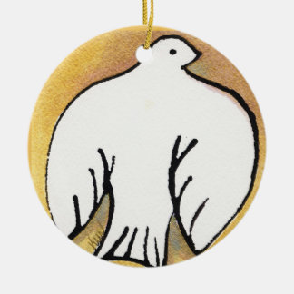 Christmas Dove on Gold Ornament