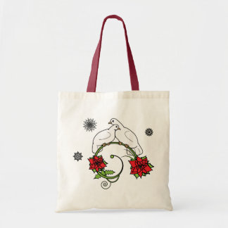 Christmas Doves and Poinsettias Bag
