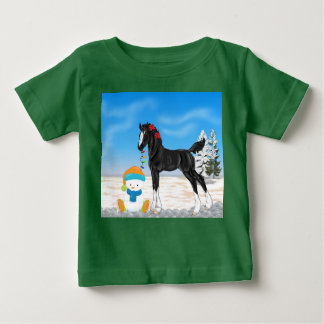 Christmas Draft Foal and Snowman Baby T-Shirt
