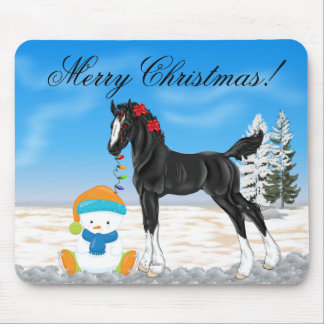 Christmas Draft Foal and Snowman Mouse Mat