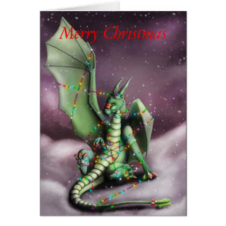 Christmas Dragon Fairy Lights Card