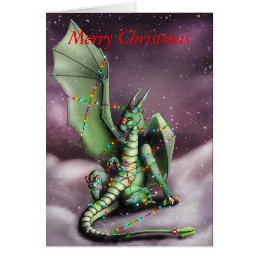 Christmas Dragon Fairy Lights Card