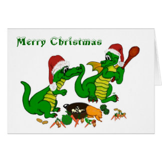 Christmas Dragons - today I will cook Greeting Card