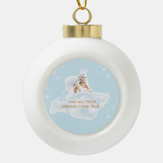Christmas Dream Angel Ceramic Ball Ornament