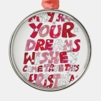 Christmas Dreams and Wishes Silver-Colored Round Decoration