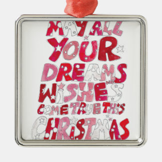 Christmas Dreams and Wishes Silver-Colored Square Decoration