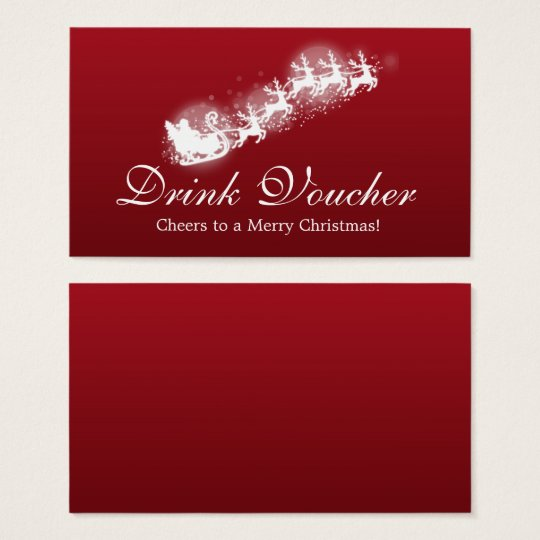 Christmas Drink Voucher Santa Red Business Card