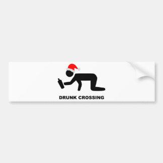 Christmas Drunk Crossing Sign Bumper Sticker