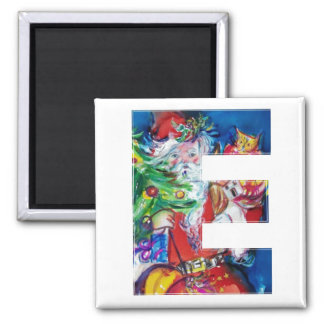 CHRISTMAS E LETTER / SANTA WITH CHRISTMAS TREE SQUARE MAGNET