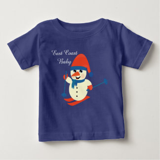 Christmas East Coast Baby cute snowman skiing Shirts