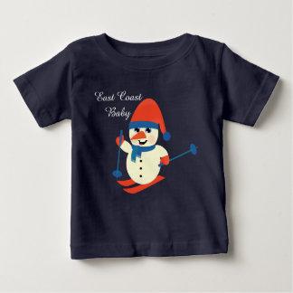 Christmas East Coast Baby cute snowman skiing T-shirt