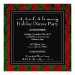 "Christmas Eat, Drink and Be Merry  Party  Invite 5.25"" Square Invitation Card"