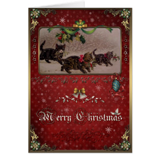 Christmas Elegance Card, Christmas Cats and holly. Card