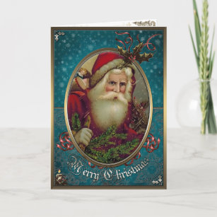 Christmas Elegance Card -  Santa Claus with gifts.