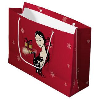 christmas elegant fashionillustration large gift bag