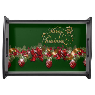 Christmas elegant wreath merry christmas GREEN Serving Tray