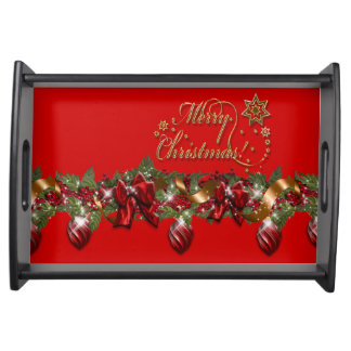 Christmas elegant wreath merry christmas RED Serving Tray