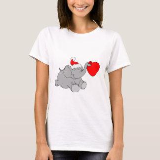 Christmas Elephant Heart T-Shirt