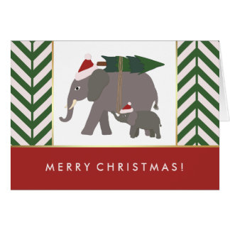 Christmas Elephants with Hats, Tree, and Chevron Card