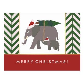 Christmas Elephants with Hats, Tree, and Chevron Postcard