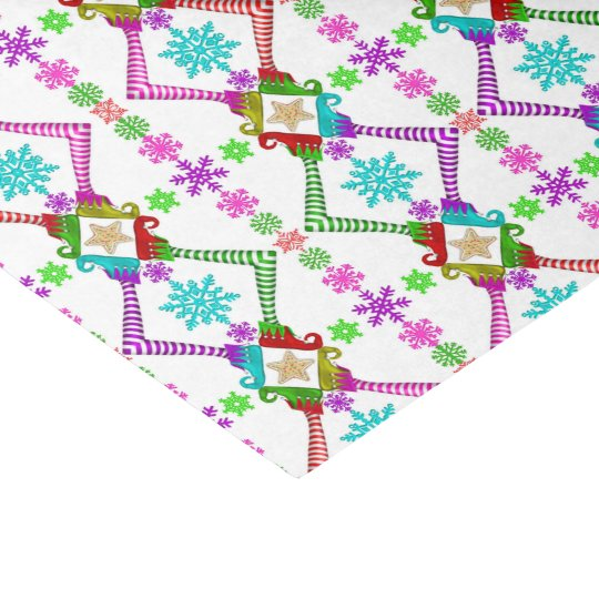 Christmas Elf and Snowflake Pattern Tissue Paper