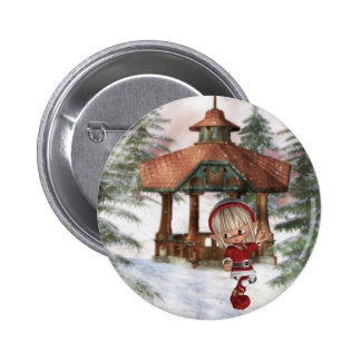 Christmas Elf at North Pole  Button