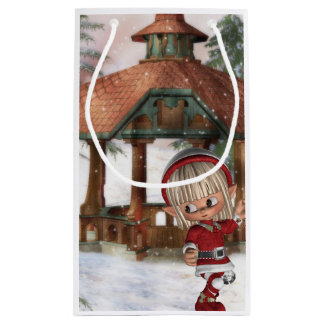Christmas Elf at North Pole Small Gift Bag