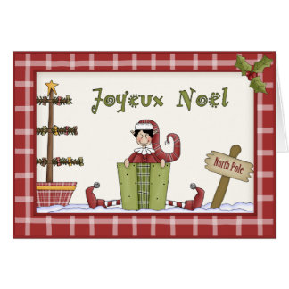 Christmas Elf at the North Pole in French Language Greeting Card