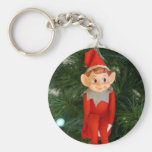 Christmas Elf Basic Round Button Key Ring
