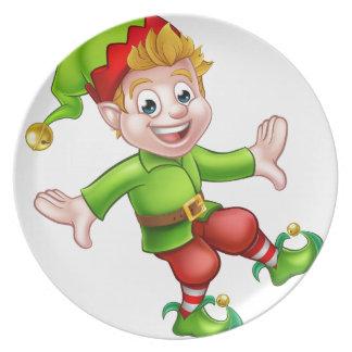Christmas Elf Cartoon Character Dinner Plates