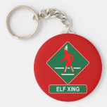 Christmas Elf Crossing Basic Round Button Key Ring