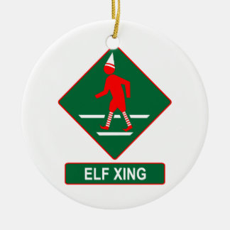 Christmas Elf Crossing Double-Sided Ceramic Round Christmas Ornament