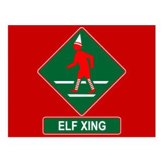 Christmas Elf Crossing Postcard