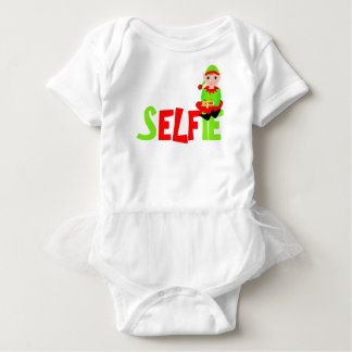 Christmas Elf Cute Funny Selfie Graphic Baby Bodysuit