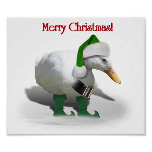 Christmas Elf Duck - Santa's Helper Poster
