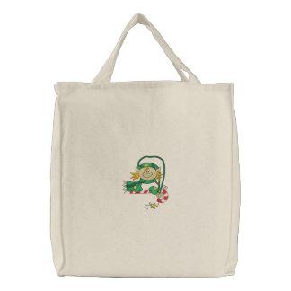 Christmas Elf Embroidered Tote Bag