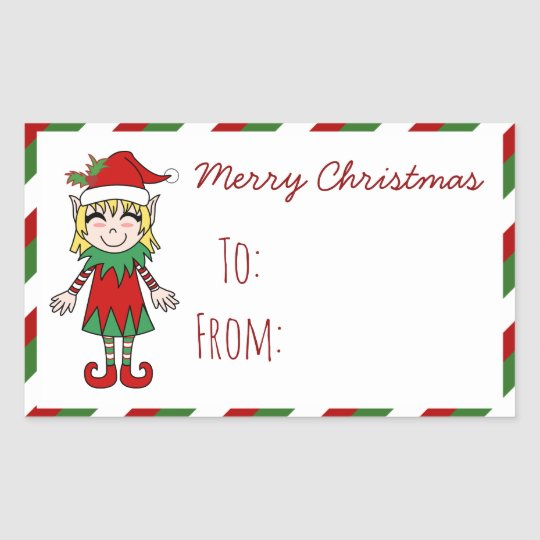 Christmas Elf Girl Merry Christmas Gift Rectangular Sticker