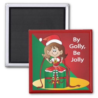 Christmas Elf Girl Wrapping A Gift Square Magnet