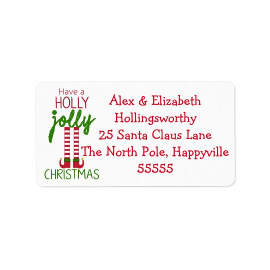 Christmas Elf  - Have A Holly Jolly Christmas Address Label