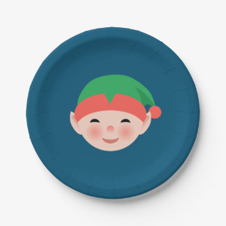 Christmas Elf in Green Hat on Blue Paper Plate