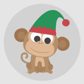 Christmas Elf Monkey Classic Round Sticker
