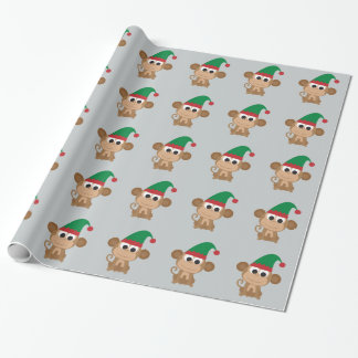 Christmas Elf Monkey Wrapping Paper