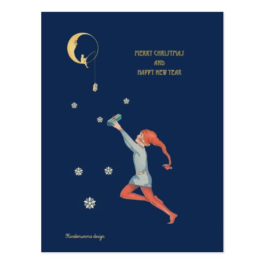 Christmas elf, moon and gift postcard