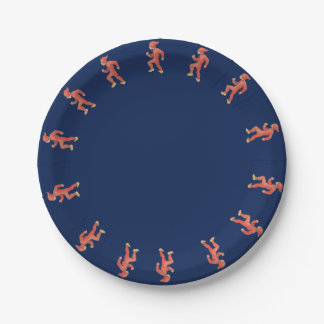 Christmas elf on blue background  - Christmas eve Paper Plate