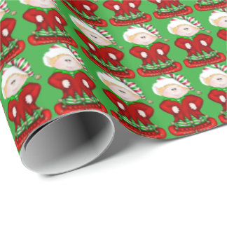 Christmas elf pattern Holiday wrapping paper